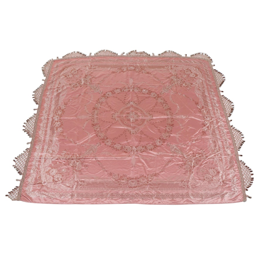 Pompom Fringe Satin Coverlet with Floral and Figurative Motifs