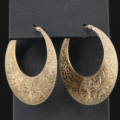 14K Engraved Hoop Earrings