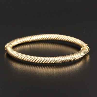 14K Hinged Cable Bangle