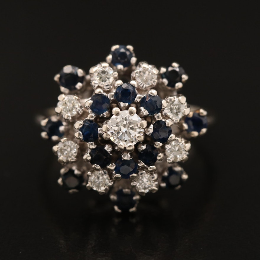 Vintage 10K Sapphire and Diamond Ring