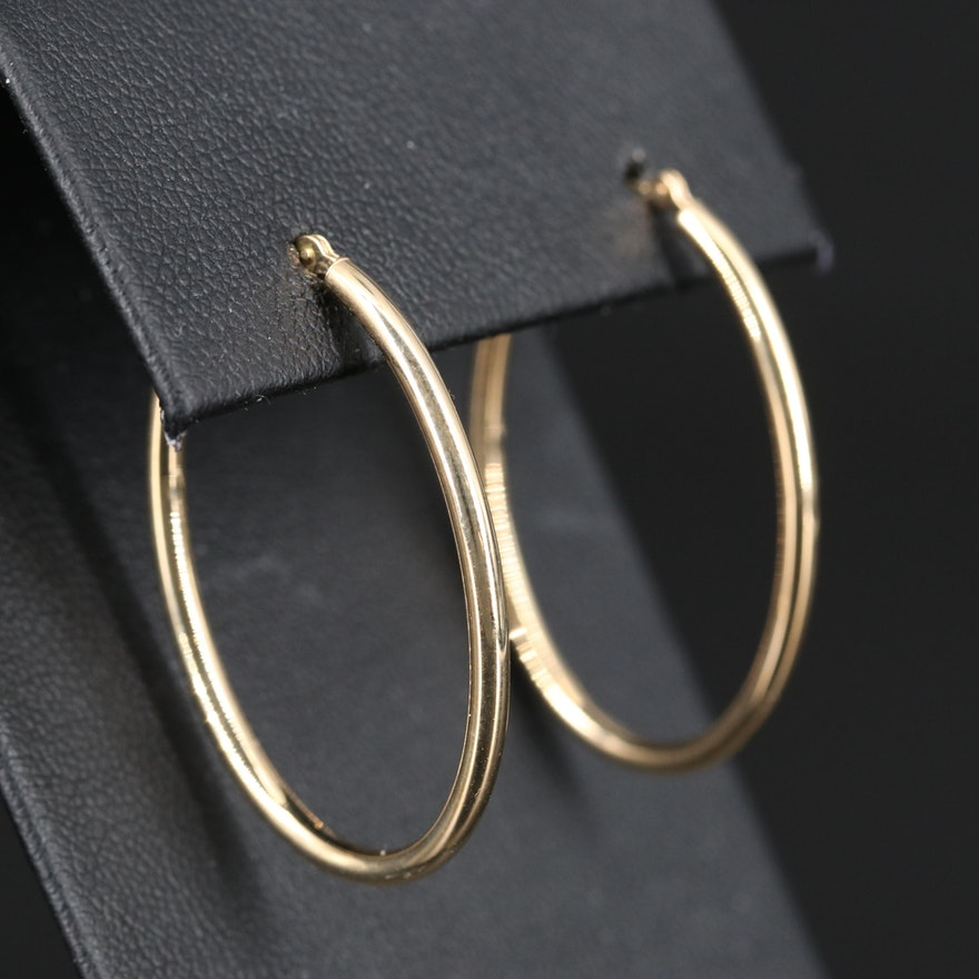 14K Oval Hoop Earrings