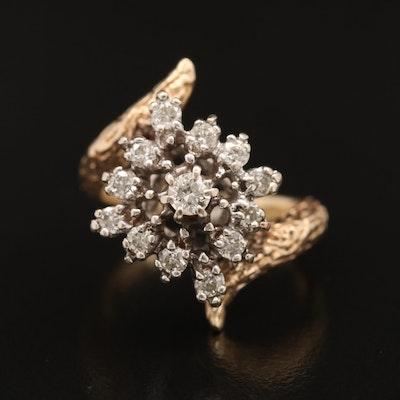 14K Diamond Bypass Cluster Ring