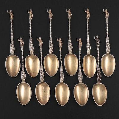 Russian Gilt Sterling Silver Demitasse Spoons with Figural Handles