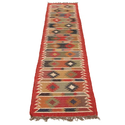 2'6 x 12'5 Handwoven Swedish Kilim Runner Rug