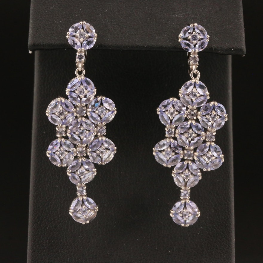 Sterling Silver Tanzanite Dangle Earrings