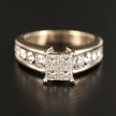 14K 1.60 CTW Diamond Ring with Graduated Channel Set Shoulders