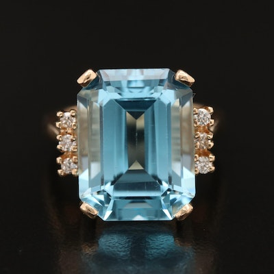 14K 17.92 CT Topaz and Diamond Ring