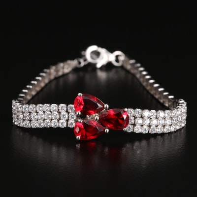 Sterling Silver Faceted Glass and Cubic Zirconia Bracelet
