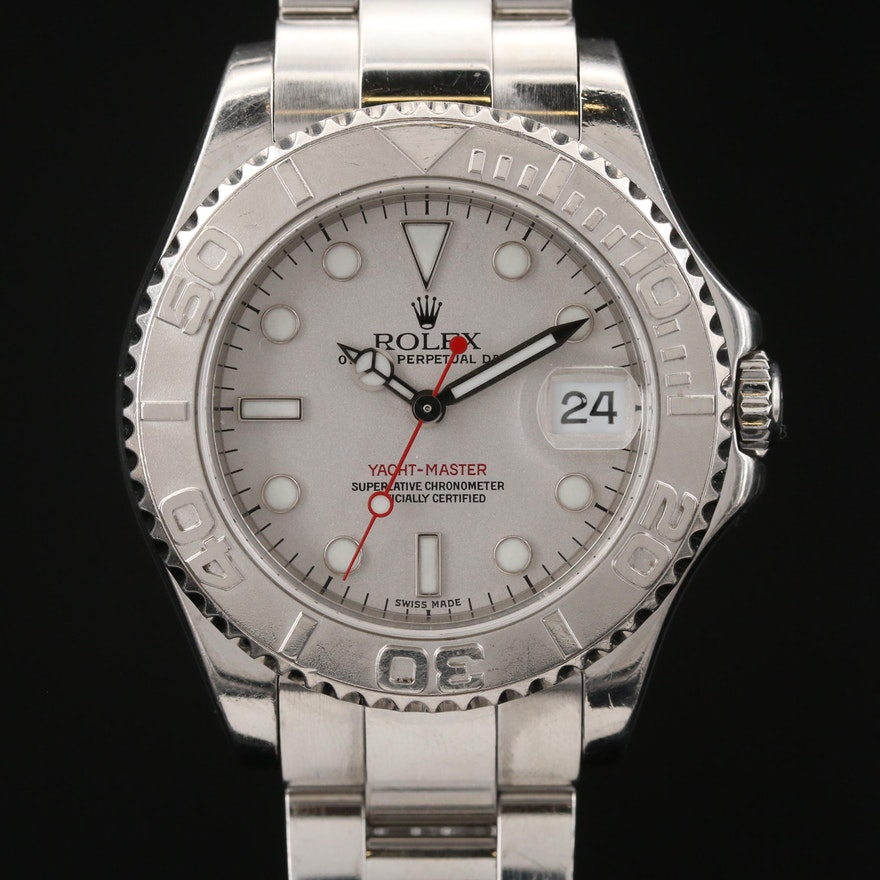 2000 Rolex Yacht-Master Midsize Platinum and Stainless Steel Wristwatch