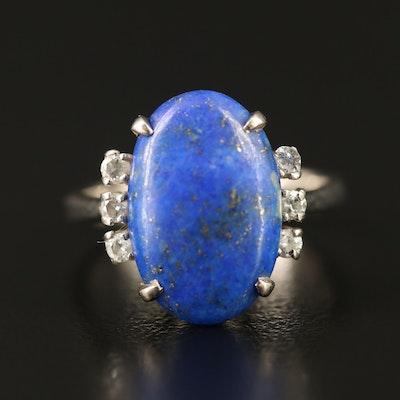 14K Lapis Lazuli and Diamond Oval Ring