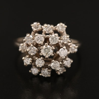 14K 1.12 CTW Diamond Cluster Ring