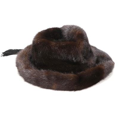 Mahogany Mink Fur Hat with Black Tassel Band