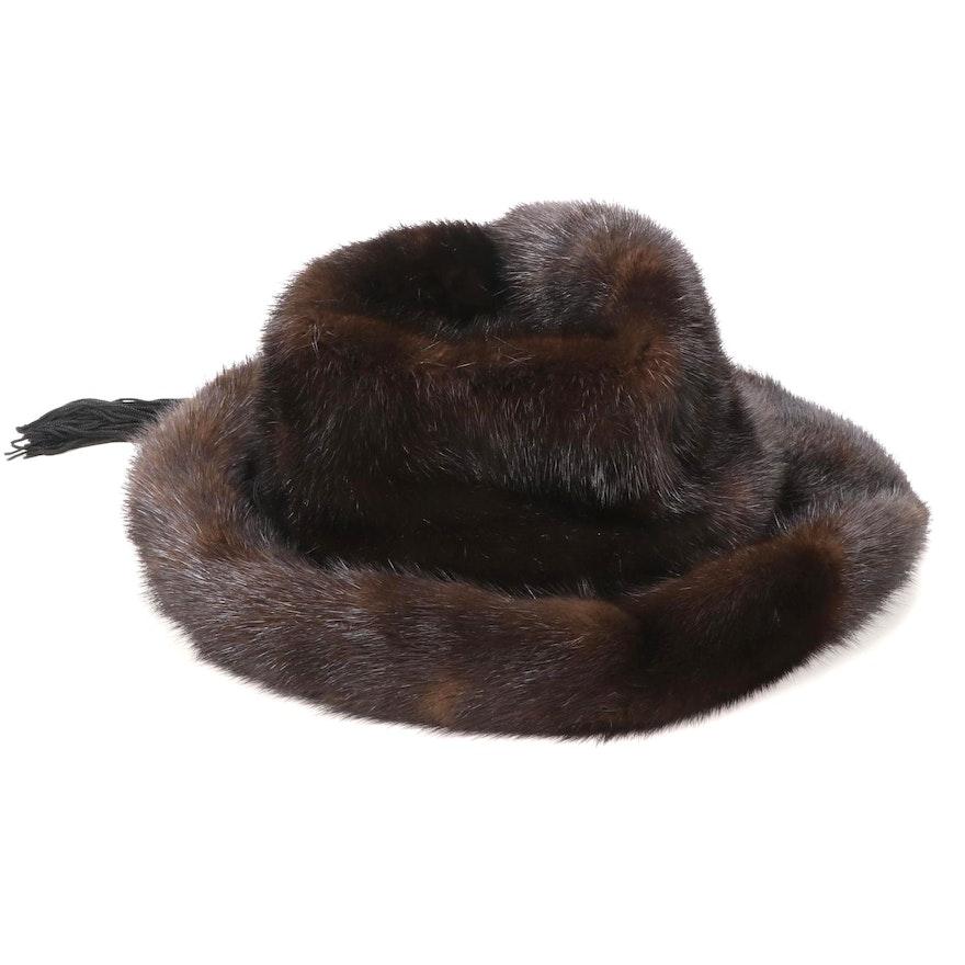 Mahogany Mink Fur Hat with Black Tassel Band