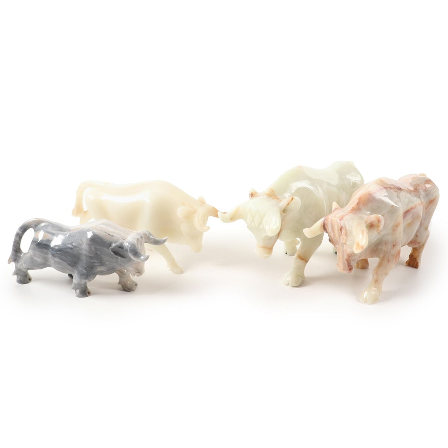 Carved Calcite Bull Figurines