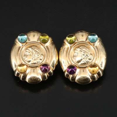 14K Mixed Gemstone Button Earrings