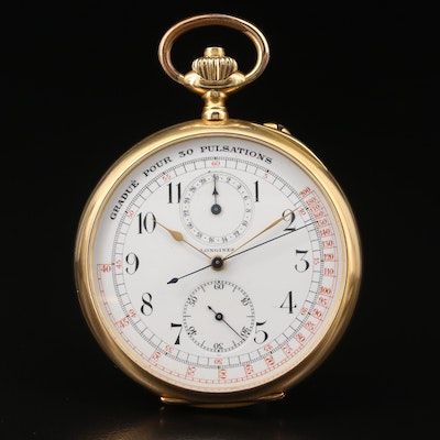 1912 Longines Doctors Chronograph 18K Gold Open Face Pocket Watch