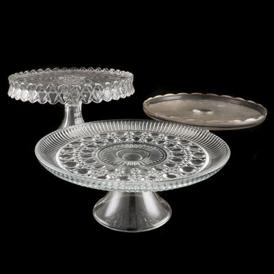 "Fostoria ""American,"" Jeannette ""Harp,"" Federal Glass ""Windsor"" Glass Cake Stands"