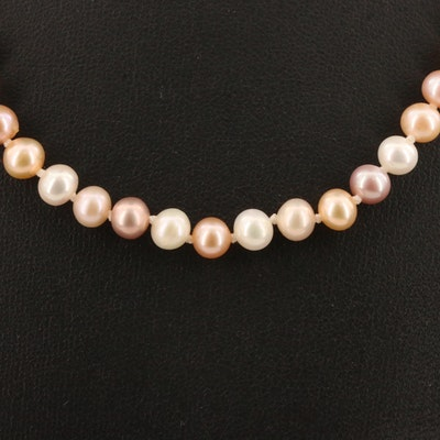 Knotted Pearl Necklace with Sterling Silver Clasp