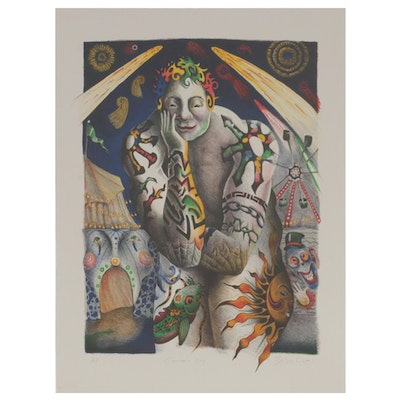 "Nick Bubash Color Lithograph ""Tattooed Guy"", 2001"