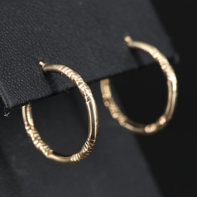 14K Twisted Crinkle Textured Hoop Earrings