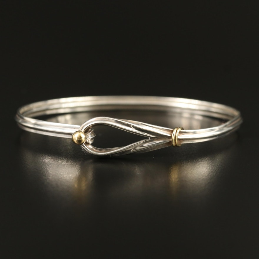 Tiffany & Co. Sterling Silver Hook and Eye Bangle with 18K Accents
