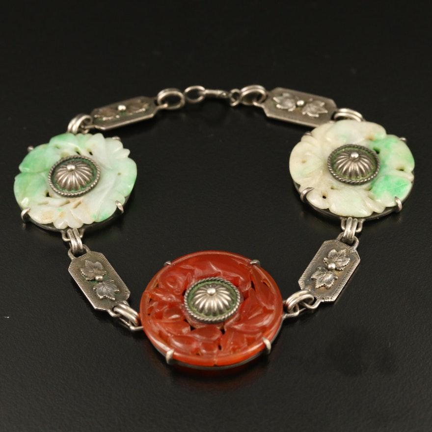 Vintage Sterling Carved Jadeite and Carnelian Bracelet