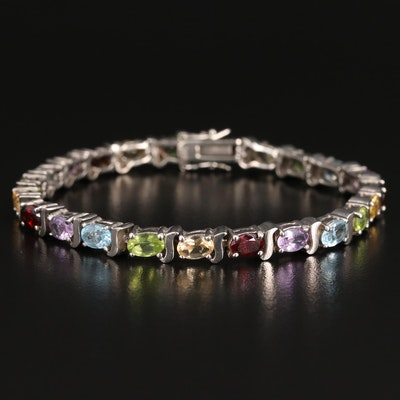 Sterling Silver Peridot, Garnet and Amethyst Link Bracelet