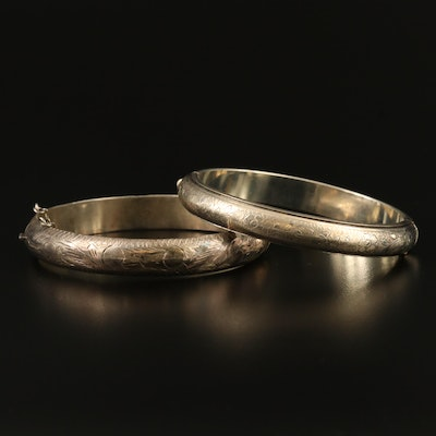 Floral Bangle with Sterling Engraved Bangle