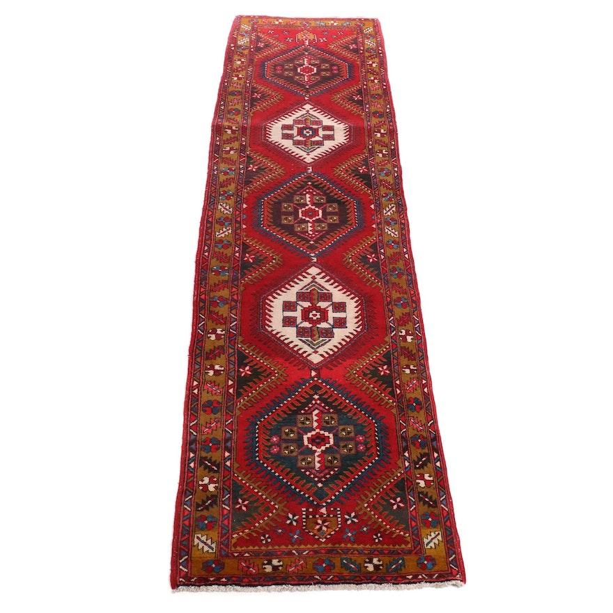 3'10 x 14'10 Hand-Knotted Persian Heriz Runner, 1960s