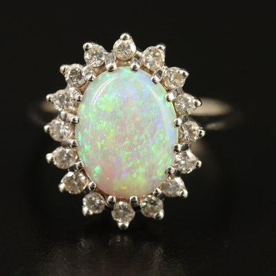 Vintage 14K Opal and Diamond Ring