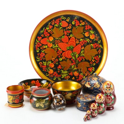 Russian Matryoshka, Jars and Other Lacquerware Decorative Accents, Vintage