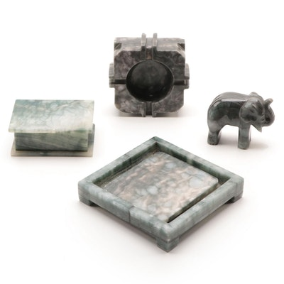 Banded Agate Ashtray, Stone Elephant Figurine, and Decorative Box