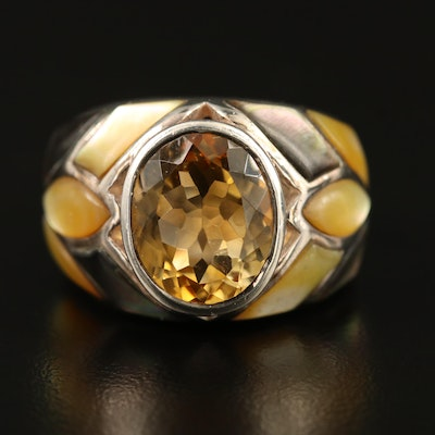 Sterling Silver Citrine and Mother of Pearl Ring