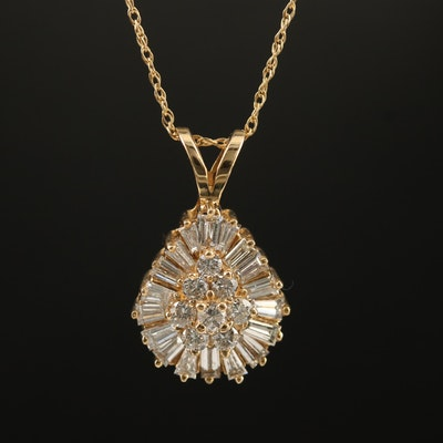 14K Diamond Teardrop Pendant on 10K Singapore Necklace