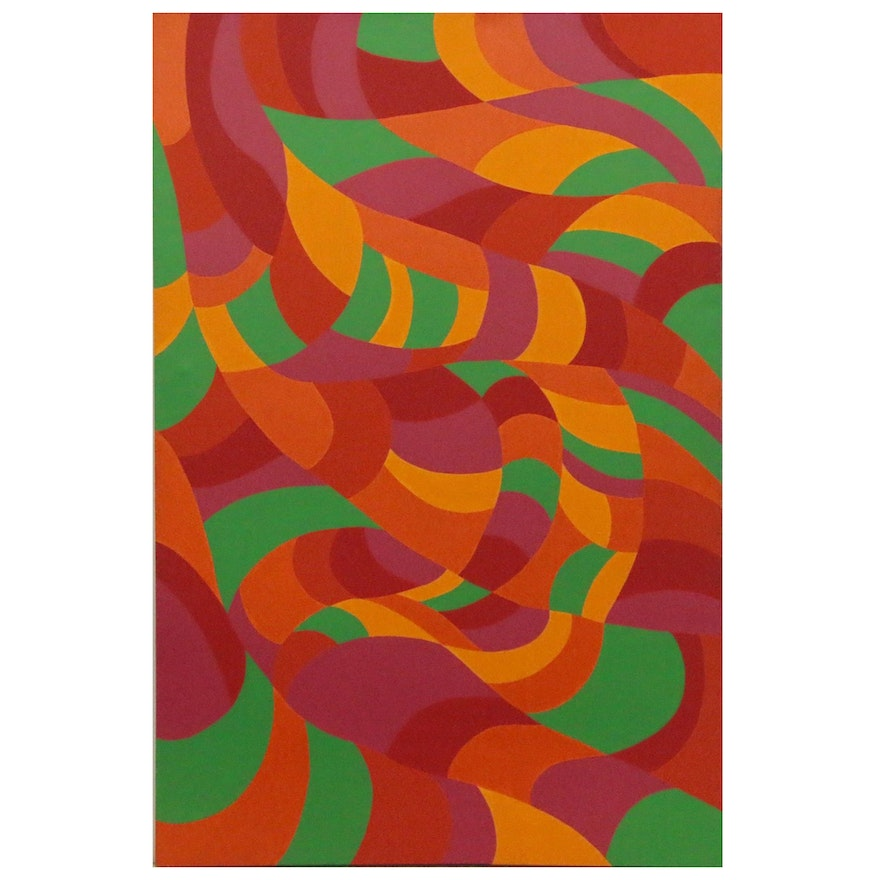 "Marjorie Shaw Kubach Abstract Acrylic Painting ""Sinvate Forms,"" 1975"