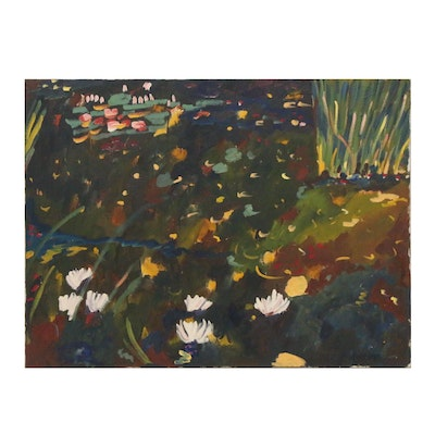 Jerald Mironov Oil Painting of Abstract Floral Landscape, Late 20th Century