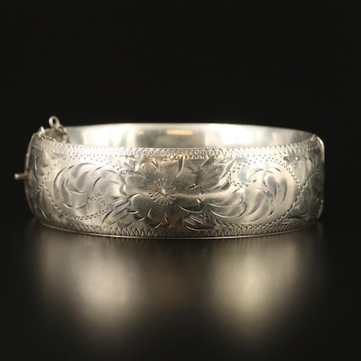 Vintage Sterling Floral Hinged Bangle