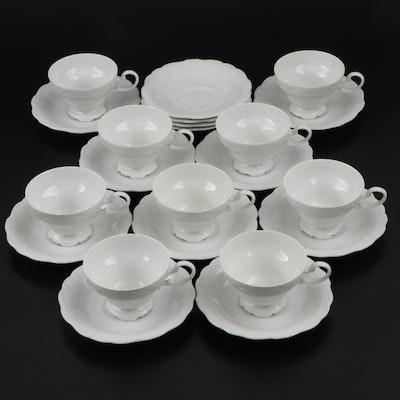 "Johann Haviland "" Aristocrat"" Porcelain Cups and Saucers, Mid-20th Century"