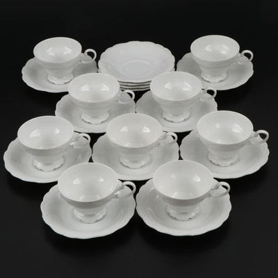"Johann Haviland "" Aristocrat"" Porcelain Cups and Saucers, Mid-20th Century"
