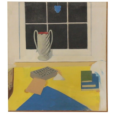 Peter Rappoli Oil Painting of Still Life at a Window, 1971