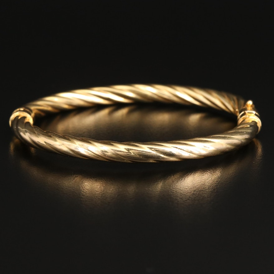 14K Twisted Hinged Bangle