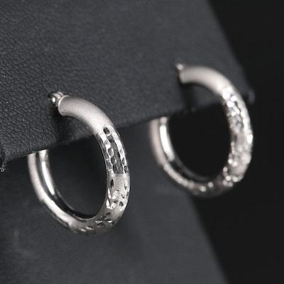14K Hoop Earrings with Diamond Cut Pattern