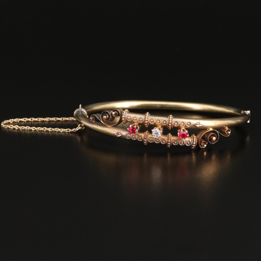 Victorian Diamond and Ruby Bypass Bracelet with 14K Safety Chain