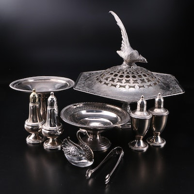 Embossed Silver Plate Potpourri Bowl with Other Sterling Table Accessories