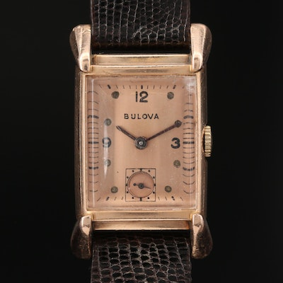 Vintage 14K Rose Gold Tank Shaped Stem Wind Wristwatch