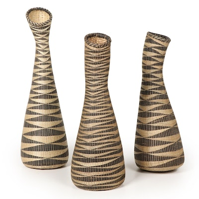 East-Central African Handwoven Patterned Sweetgrass Basket Vases