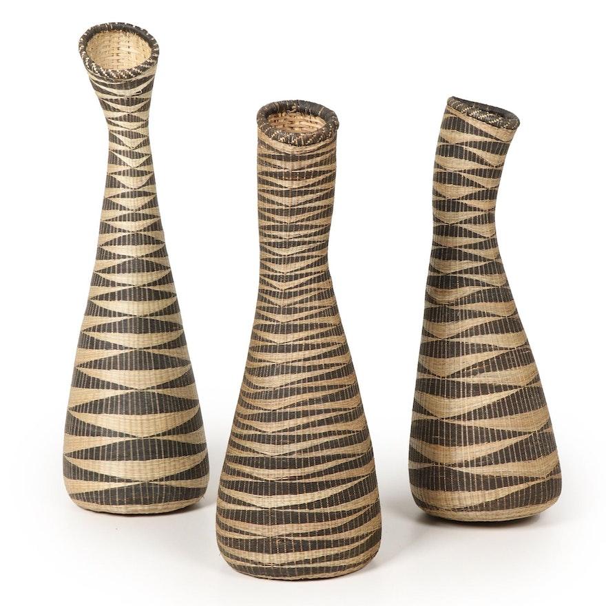 East-Central African Handwoven Patterned Sweetgrass Basket Vases
