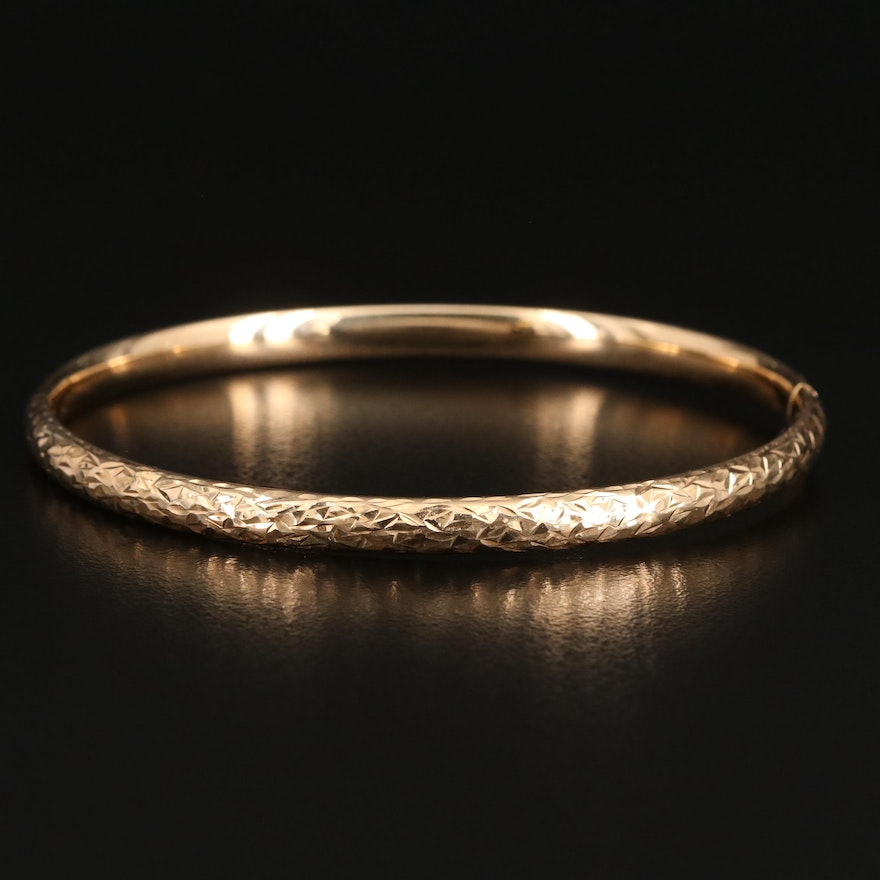 14K Diamond Cut Hinged Bangle