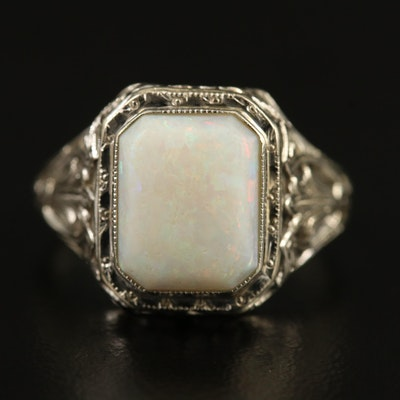 Art Deco 14K Opal Openwork Ring