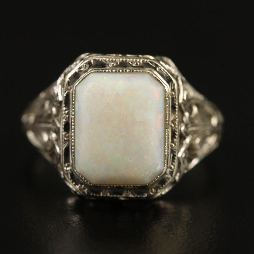 Art Deco 14K Opal Openwork Ring
